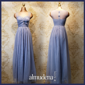 vestido largo azul cielo nudo tul