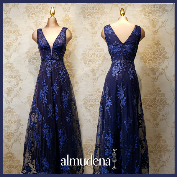 vestido azul marino encaje largo