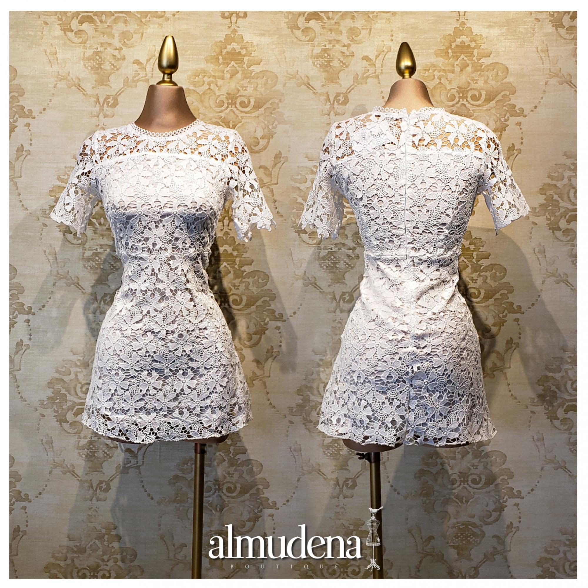 vestido blanco civil boda dia encaje manga