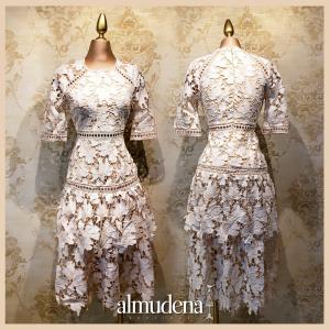 vestido manga corta encaje blanco boda civil jardin elegante