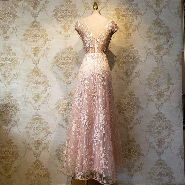 vestido rosa largo graducacion fiesta evento noche formal encaje rosa jardin
