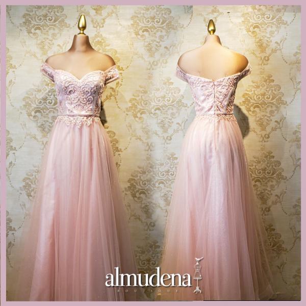 vestido largo graduacion rosa