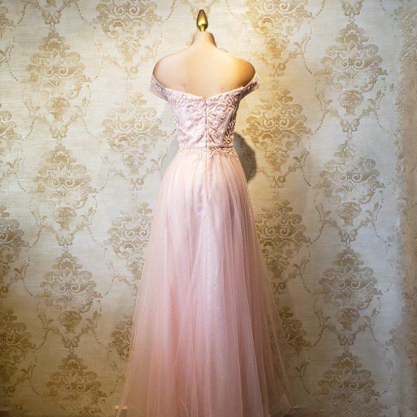 vestido largo rosa elegante