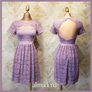 vestido corto lila coctel