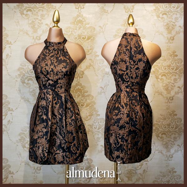 vestido negro con oro elegante coctel noche boda dia