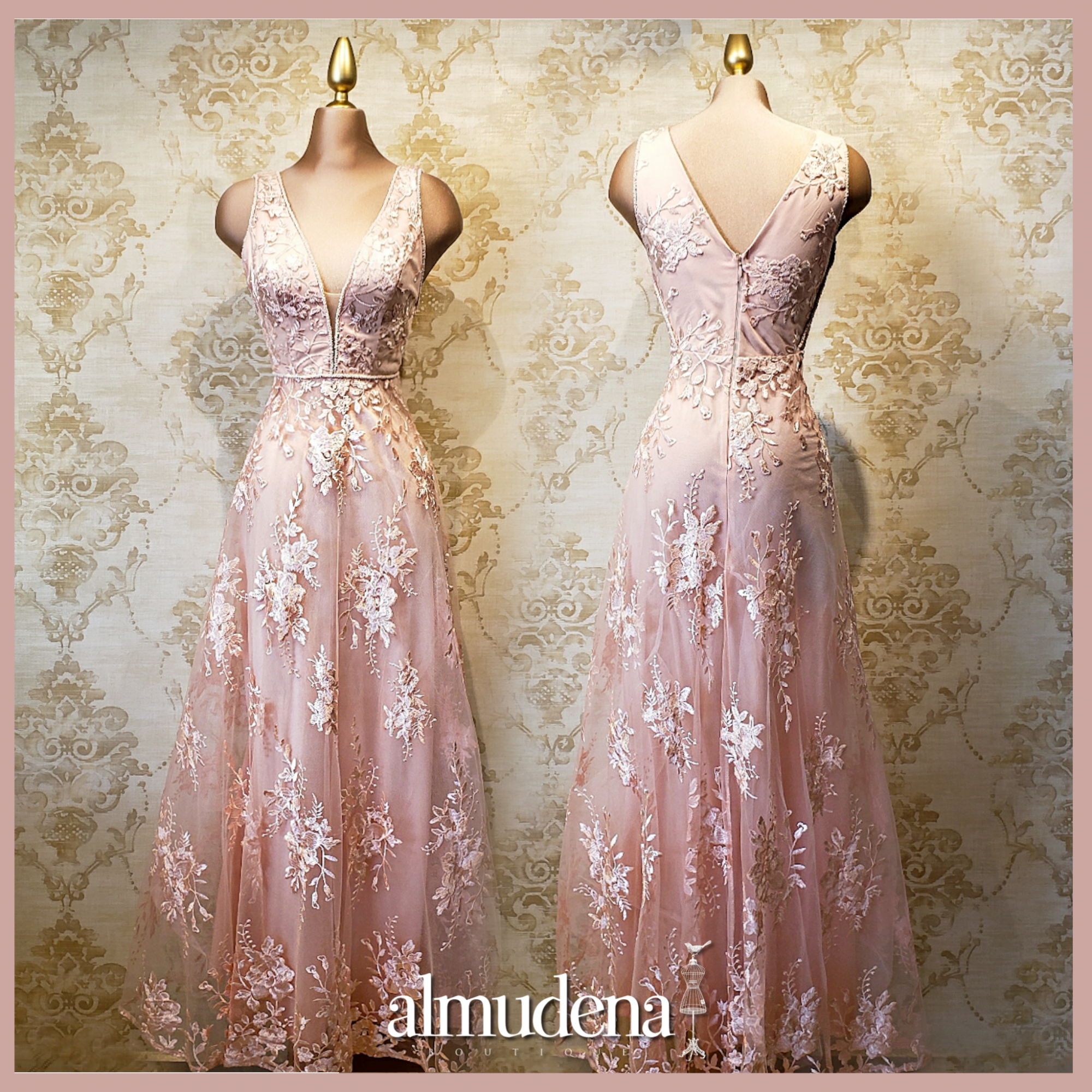 vestido rosa encaje largo boda dia playa noche