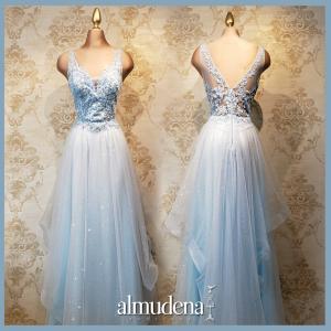 vestido azul cielo quince años sencillo cenicienta