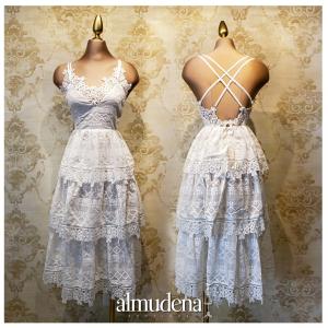 vestido civil tirantes blanco boda playa algodon evento jardin encaje bautizo madrina