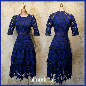 vestido corto midi encaje azul rey manga corta madrina evento dia manga marino